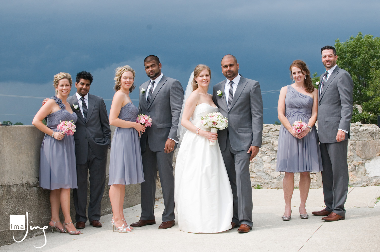 Wedding party at the Mill Race Park, Cambridge ON